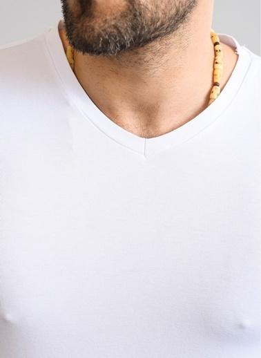 People By Fabrika V Yaka Basic Tişört Beyaz